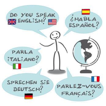 Strichmännchen mit Sprechblasen in verschiedenen Sprachen