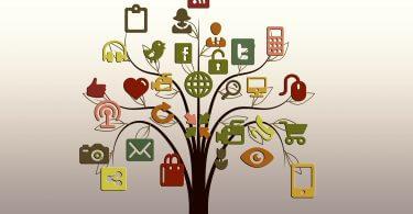Baum mit den Logos verschiedenster Soical Media Kanäle