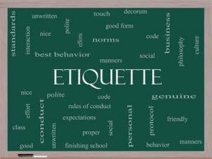 Gedankenwolke zu dem Begriff Etiquette