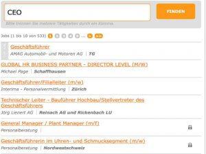 Ausschnitt der Suchergebnisse von Jobagent.ch