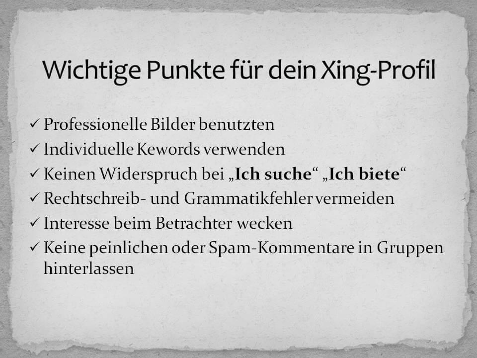Punkte für das Xing-Profil