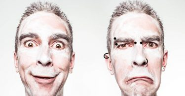 Vergleich Gesicht mit und ohne Piercing