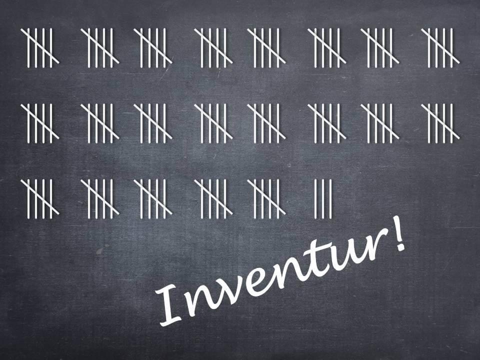Strichliste mit Inventur-Schriftzug