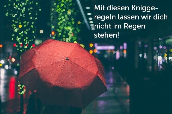 Roter Regenschirm als Symbol für den Schutz durch die Kniggeregeln - Meeting-Knigge
