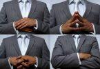 Collage von Mann mit 4 verschiedenen Gesten - Körpersprache