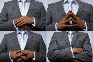 Collage von Mann mit 4 verschiedenen Gesten