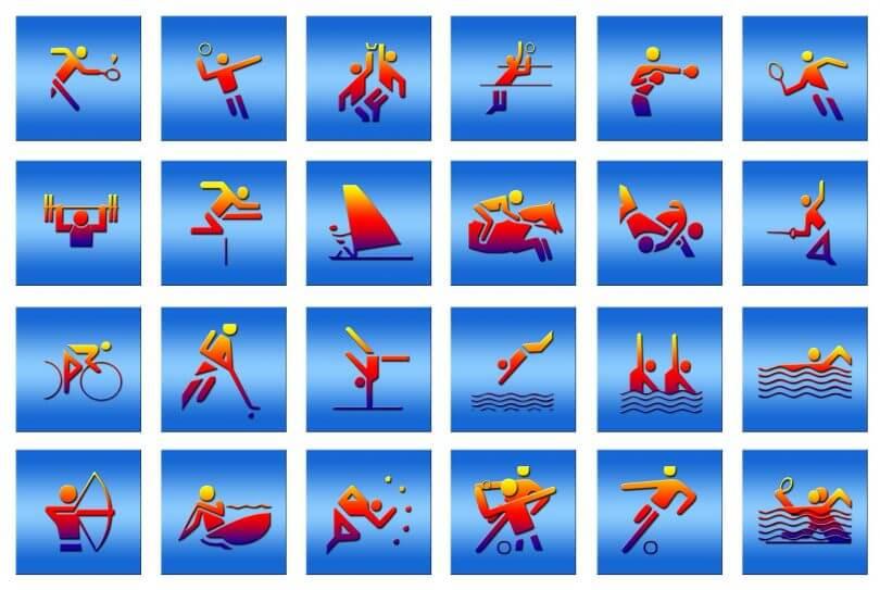 Symbole verschiedenster Sportarten