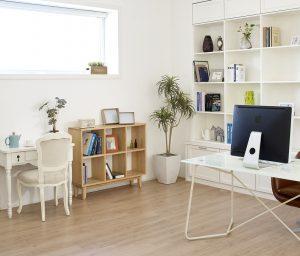 Büro mit Schreibtisch und Regalen
