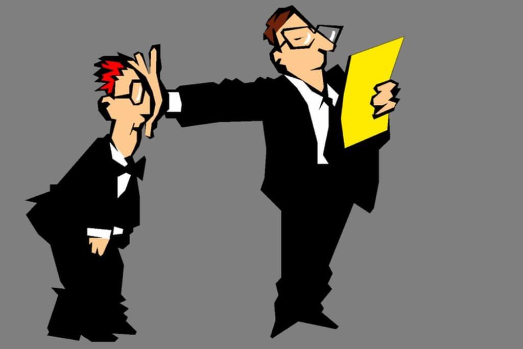 Mobbing vom Chef Hand im Gesicht des Mitarbeiters