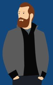 Mann mit Bart und Jacke
